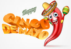 Cinco De Mayo Mexican Chilli Pepper Design. Mexican happy Cinco De Mayo design with red chilli pepper cartoon character in sombrero straw hat holding maracas Royalty Free Stock Image