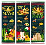 Cinco de Mayo mexican festival greeting banner. Cinco de Mayo Festival greeting banner for mexican holiday celebration design. Latin American fiesta party food Royalty Free Stock Photos
