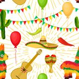Cinco de Mayo Mexican festive Seamless pattern. Cinco de Mayo - May 5, federal holiday in Mexico. Seamless pattern of Mexican culture symbols maracas, sombrero