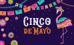 Cinco de mayo, Mexican Fiesta banner and poster design with flamingo, flowers, decorations stock illustration