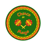 Cinco de Mayo. Mexican Fiesta holiday Cinco de Mayo. Freehand drawn fancy cartoon style. Decorative round frame badge. Festival celebration traditional symbols stock illustration