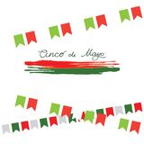 Cinco de Mayo, Mexican fiesta, holiday poster, banner, greeting card. Cinco de Mayo mexican greeting card. Vector illustration with colorful flags, peppers and Stock Images