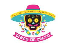 Cinco de Mayo, Mexican fiesta, holiday poster, party flyer, greeting card. Cinco de Mayo, Mexican fiesta, holiday poster, party flyer, funny greeting card Royalty Free Stock Photography