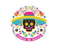 Cinco de Mayo, Mexican fiesta, holiday poster, party flyer, greeting card stock illustration
