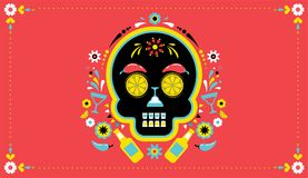 Cinco de Mayo, Mexican fiesta, holiday poster, party flyer, greeting card. With skull Royalty Free Stock Images