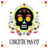 Cinco de Mayo, Mexican fiesta, holiday poster, party flyer, greeting card. With skull Royalty Free Stock Photos
