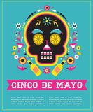 Cinco de Mayo, Mexican fiesta, holiday poster, party flyer, greeting card. With skull Royalty Free Stock Photography