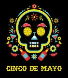 Cinco de Mayo, Mexican fiesta, holiday poster, party flyer, greeting card. With skull Stock Photos
