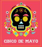 Cinco de Mayo, Mexican fiesta, holiday poster, party flyer, greeting card. With skull Stock Photography