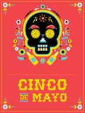 Cinco de Mayo, Mexican fiesta, holiday poster, party flyer, greeting card. With skull Stock Photo