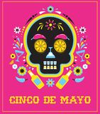Cinco de Mayo, Mexican fiesta, holiday poster, party flyer, greeting card. With skull Royalty Free Stock Photo