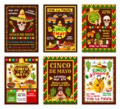 Cinco de Mayo mexican fiesta party banner design. Cinco de Mayo mexican fiesta party banner set for Puebla battle victory celebration. Sombrero, pepper and Stock Images