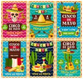 Cinco de Mayo mexican fiesta party banner design. Cinco de Mayo mexican fiesta party banner set for Latin American holiday invitation design. Festive skull with stock illustration