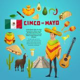 Cinco de Mayo mexican fiesta party greeting card. For Latin American holiday design. Cinco de Mayo festival sombrero, maracas, chili and jalapeno pepper, Mexico Stock Image
