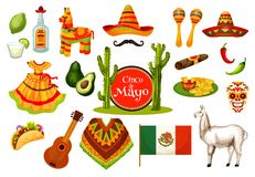 Cinco de Mayo mexican fiesta party icon design. Cinco de Mayo festival icon set of mexican holiday fiesta party symbol. Sombrero hat, maracas, chili and jalapeno Stock Photo