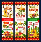 Cinco de Mayo mexican fiesta party invitation card. Cinco de Mayo mexican fiesta party invitation banner for Puebla Battle anniversary. Sombrero, pepper and Stock Photos