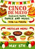 Cinco de Mayo mexican fiesta party invitation. Cinco de Mayo fiesta party poster with mexican holiday traditional food and costume. Sombrero, chili and jalapeno Royalty Free Stock Photo