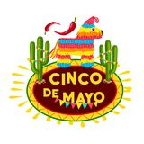Cinco de Mayo mexican fiesta party pinata icon. Cinco de Mayo fiesta party pinata icon of mexican holiday greeting card. Colorful paper figure of alpaca and Stock Image