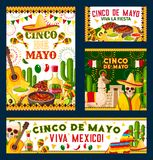 Cinco de Mayo mexican fiesta party poster design. Cinco de Mayo holiday poster for mexican fiesta party design. Festive food, pepper, sombrero and skull, maracas Stock Image