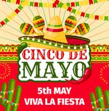 Cinco de Mayo Mexican fiesta vector invitation. Cinco de Mayo fiesta invitation card for Mexican holiday party celebration. Vector entry flyer design of sombrero Royalty Free Stock Photos