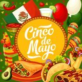 Cinco de Mayo Mexican flag balloons and maracas. Cinco de Mayo, Mexico holiday party celebration flag balloons and maracas. Vector Cinco de Mayo fiesta food royalty free illustration