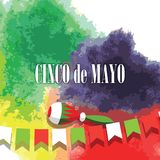 Cinco de Mayo, Mexican fiesta, holiday poster, banner, greeting card. Cinco de Mayo mexican greeting card. Vector illustration with colorful flags, peppers and Royalty Free Stock Images