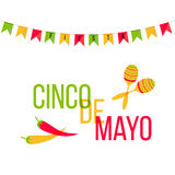 Cinco de Mayo mexican greeting card. Vector illustration with colorful flags and phrase Fiesta, jalapeno, cactus Royalty Free Stock Photo