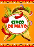 Mexican Cinco de Mayo vector Mexican fiesta card. Cinco de Mayo Mexican holiday celebration greeting card of Mexico food tacos, jalapeno pepper and corn, tomato vector illustration