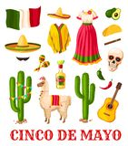 Cinco de Mayo mexican holiday celebration icon. Set. National flag of Mexico, sombrero hat and chilli pepper, maracas, tequila and guitar, cactus, carnival Royalty Free Stock Photography