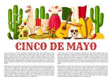 Mexican Cinco de Mayo holiday fiesta vector poster. Cinco de Mayo Mexican holiday celebration poster for Mexico national holiday party or fiesta. Vector design Royalty Free Stock Photo