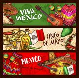 Cinco de Mayo Mexican holiday celebration. Cinco de Mayo Mexican traditional holiday sketch banners. Vector Cinco de Mayo celebration symbols sombrero, chili vector illustration