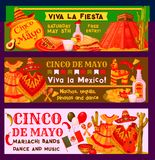 Cinco de Mayo Mexican vector fiesta party banners. Cinco de Mayo Mexican holiday fiesta celebration banners or party inivtaion cards. Vector traditional Mexican Royalty Free Stock Photography