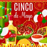 Cinco de Mayo Mexican fiesta vector greeting card. Cinco de Mayo Mexican holiday fiesta celebration greeting card of traditional food and fireworks. Vector royalty free illustration