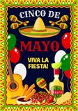 Cinco de Mayo Mexican vector celebration poster. Cinco de Mayo Mexican holiday fiesta celebration greeting card of traditional fiesta symbols jalapeno pepper Stock Image
