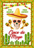 Cinco de Mayo Mexican party vector invitation. Cinco de Mayo Mexican holiday fiesta invitation card for Mexico traditional party celebration. Vector poster of Stock Photography