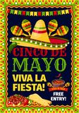 Cinco de Mayo fiesta Mexican party vector poster. Cinco de Mayo Mexican holiday fiesta invitation card for party celebration. Vector poster for Viva Fiesta of Royalty Free Stock Photo