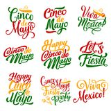 Cinco de Mayo Mexican holiday fiesta vector icons. Cinco de Mayo Mexican holiday party celebration calligraphy lettering for greeting card design. Vector hand Stock Photos