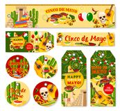 Cinco de Mayo Mexican holiday fiesta vector tags. Cinco de Mayo Mexican holiday party celebration banners and tags. Vector set of party greetings and traditional Royalty Free Stock Photography
