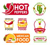 Cinco de Mayo mexican holiday food and drink icon. Cinco de Mayo mexican holiday food icon set. Chili pepper, taco and nacho with margarita, guacamole and salsa Stock Images