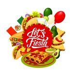 Cinco de Mayo Mexican holiday food and drink. Mexican fiesta party food and drink vector design of Cinco de Mayo holiday greeting card. Flag of Mexico, tacos and vector illustration