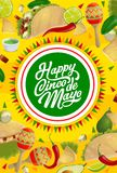 Cinco de Mayo Mexican holiday food and maracas. Cinco de Mayo holiday maracas and Mexican fiesta party food vector greeting card. Chilli, avocado and jalapeno royalty free illustration