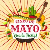 Cinco de Mayo mexican holiday greeting poster. Fiesta party sombrero, maracas, chili and jalapeno pepper, tequila margarita, cactus and guitar for Latin Stock Photography