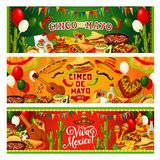Cinco de Mayo, Mexican holiday guitar and sombrero. Cinco de Mayo, Viva Mexico banners, Mexican fiesta party celebration balloons and flags. Vector Mexico flag vector illustration