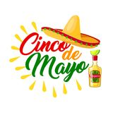Cinco de Mayo mexican holiday icon with sombrero. Cinco de Mayo mexican holiday icon with festive sombrero. Latin american hat, tequila margarita and lime t Royalty Free Stock Photo