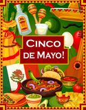 Cinco de Mayo Mexican holiday party greetings. Cinco de Mayo holiday celebration, Mexican fiesta party nachos with tomato salsa and quesadilla. Vector Mexico stock illustration