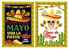 Cinco de Mayo mexican holiday card of fiesta party. Cinco de Mayo mexican holiday party invitation banner set. Fiesta party sombrero hat, maracas and skull Royalty Free Stock Photography