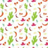 Cinco De Mayo Mexican Holiday Seamless-Patroon met Cactus, Sombrero, Maracas en Chili Pepper stock illustratie