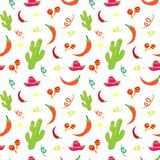 Cinco De Mayo Mexican Holiday Seamless Pattern With Cactus, Sombrero, Maracas And Chili Pepper. Illustration Royalty Free Stock Photo