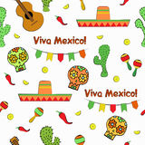 Cinco de Mayo Mexican holiday seamless pattern vector illustration Royalty Free Stock Images