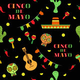 Cinco de Mayo Mexican holiday seamless pattern vector illustration. Template, bruchure, poster